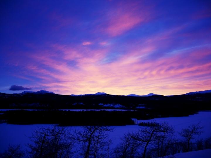 Le coucher de soleil vu de la yourte
