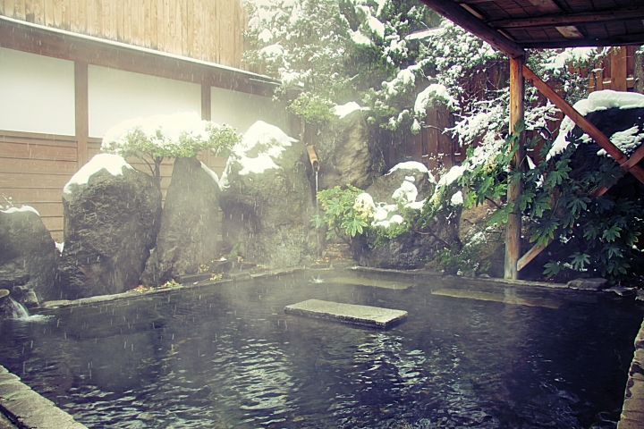 Le onsen extérieur du Yudanaka Seifuso Hotel